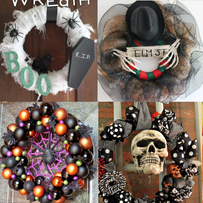 "Collage of 4 Different DIY Halloween Wreaths - top left wreath is white gauze wreath with 2 spiders, a coffin lid with RIP on it and the letter B-O-O, top right is a wreath with black netting, a top hat, two skeleton hands holding a sign that says ""ELM ST"", bottom left is a wreath of black, orange and green balls with a large purple spider web in the center and a black spider on the web, the bottom right has a picture of a wreath made of out of black and white ribbon and a skull in the center"