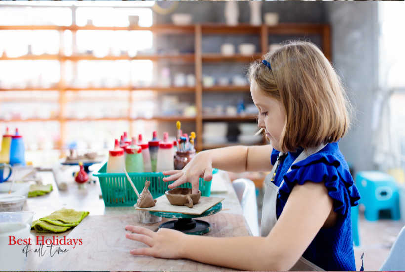 Girl enjoying your pottery doing session