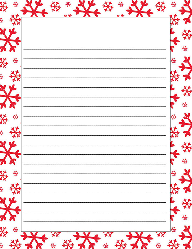 Picture of piece of paper with red snowflakes around border.  Middle of paper has lines for writing on.