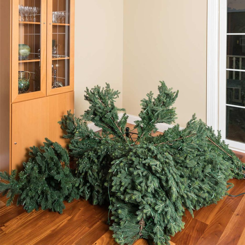 Disassembled artificial Christmas tree