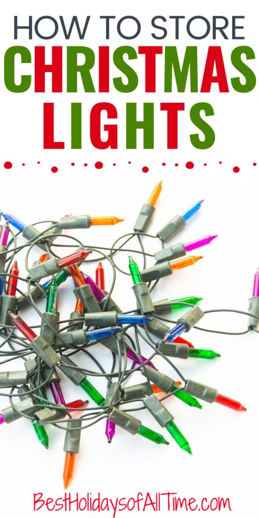 """How to Store CHRISTMAS LIGHTS"" on top with picture of jumbled string of lights on bottom"