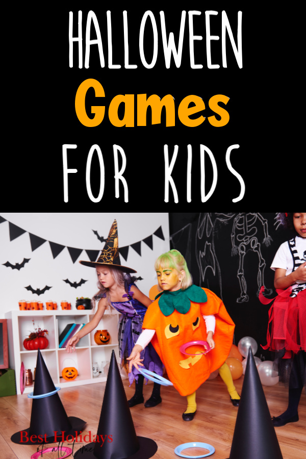 """Halloween Games for Kids"" Written at top of image with a black background and a picture of kids throwing rings onto witch hats on the bottom of image."