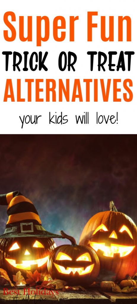"Pinterest pin image with ""Super Fun Trick or Treat Alternatives your kids will love"" written on the top with a picture of 3 carved pumpkins on the bottom."