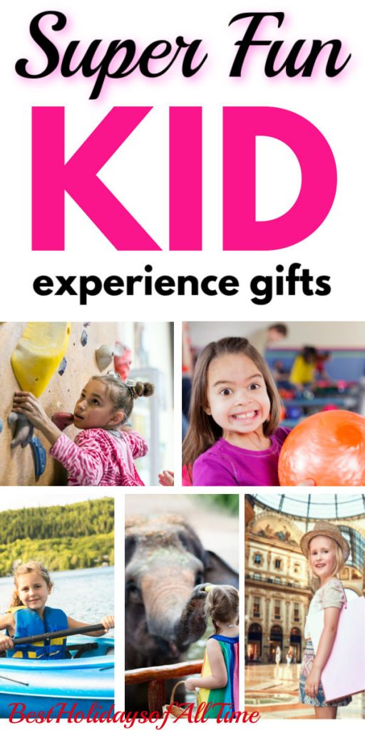 """Super Fun Kid Experience Gifts"" written on top with a collage of kids - girl rock climbing, girl holding bowling ball, girl kayaking, kid feeding elephant, and girl at art museum"